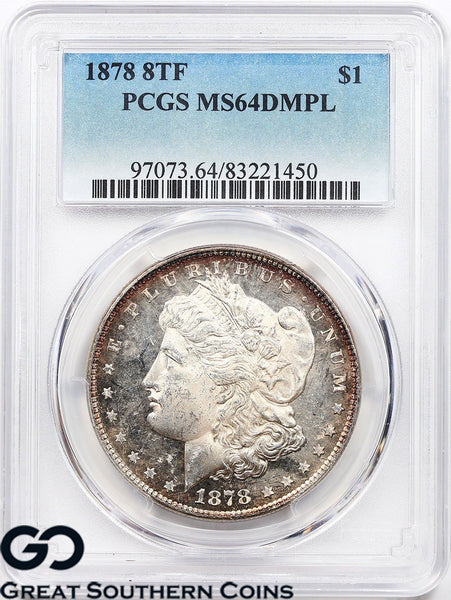 1878 8TF PCGS Morgan Silver Dollar MS 64 DMPL * Deep Mirrors, Better Date, Nice!