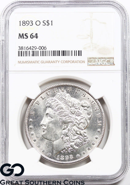 1893-O NGC Morgan Silver Dollar MS 64 ** Very RARE This Nice, PL Look, White!
