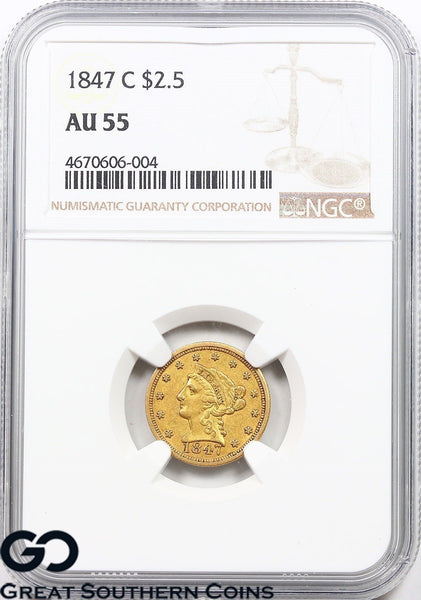 1847-C NGC Quarter Eagle, $2.5 Gold Liberty AU 55 ** Collectible CHARLOTTE Date!