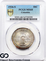 1936-S PCGS Columbia Commemorative Half Dollar MS 68 ** Premium Quality!
