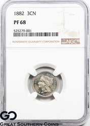 1882 NGC Three Cent Nickel PROOF PF 68 ** None Finer, Very Cameo Appeal, PQ PR!