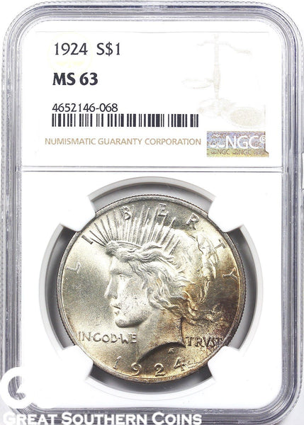Random Date NGC MS-63 TONED Peace Silver Dollar Mint State 63