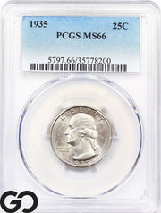 1935 PCGS MS 66 Washington Quarter PCGS Mint State 66 ** Tough This Nice!