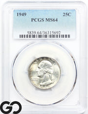 1949 PCGS MS 64 Washington Quarter Mint State 64 ** Brilliant Mint Luster!