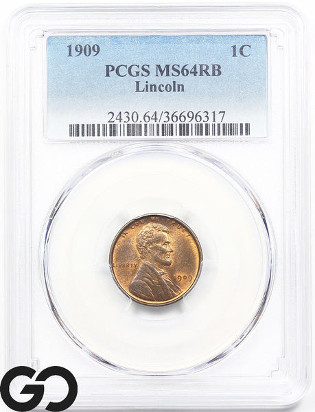 1909 PCGS MS 64 Lincoln Cent Wheat Penny Mint State 64 RB ** Lustrous Beauty!
