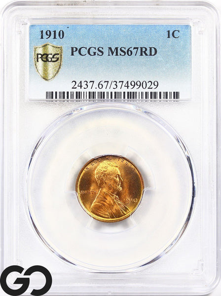 1910 Lincoln Cent Wheat Penny, RED, PCGS Mint State 67 RD ** Premium Quality!