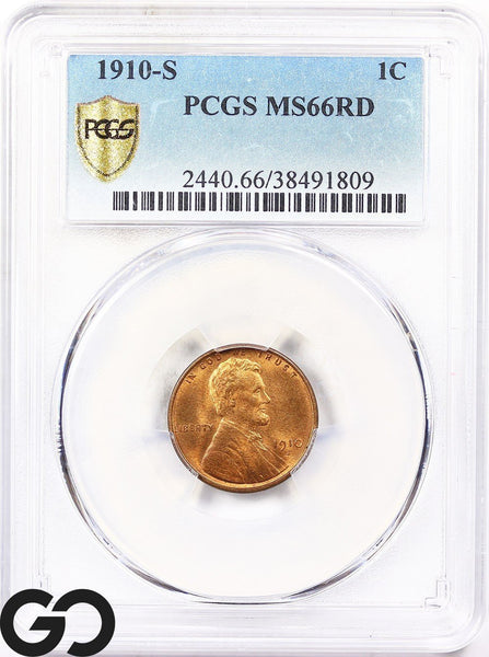 1910-S Lincoln Cent Wheat Penny, Nice RED, PCGS MS 66 ** Gorgeous Coin!
