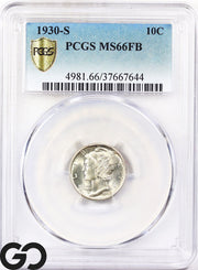 1930-S Mercury Dime, Full Split Bands PCGS MS 66FB ** Super Sharp, Blast White!