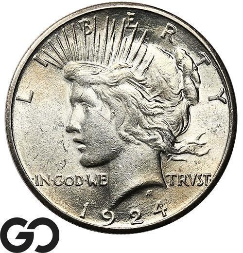 1924-S Peace Dollar, Brilliant Uncirculated Better Date Silver $!