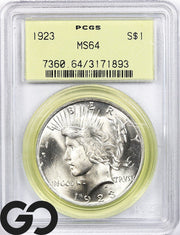 1923 MS64 Peace Dollar PCGS Mint State 64 ** Old Green Holder