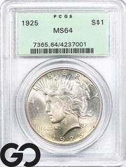 1925 MS64 Peace Dollar PCGS Mint State 64 ** Old Green Holder