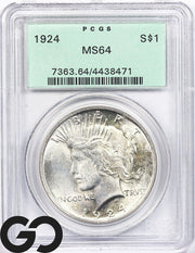 1924 MS64 Peace Dollar PCGS Mint State 64 ** Old Green Holder