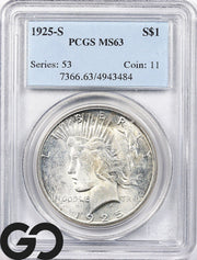 1925-S MS63 Peace Dollar PCGS Mint State 63 ** Tough Date this Nice!