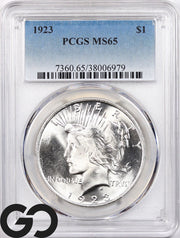 1923 MS65 Peace Dollar PCGS Mint State 65 ** Blast White Blazer