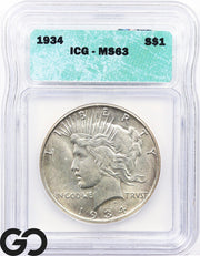 1934 MS 63 Peace Dollar PCGS Mint State 63 ** Very Nice Silver Dollar!