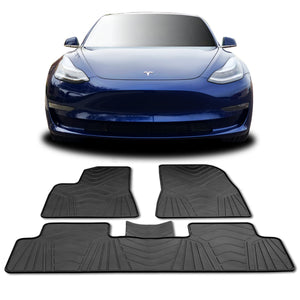 Tesla Model 3 Floor Mats - All Weather Fits 2017 - 2019 Accessories - Heavy Duty & Odorless Eco-Friendly Latex Material by HEA