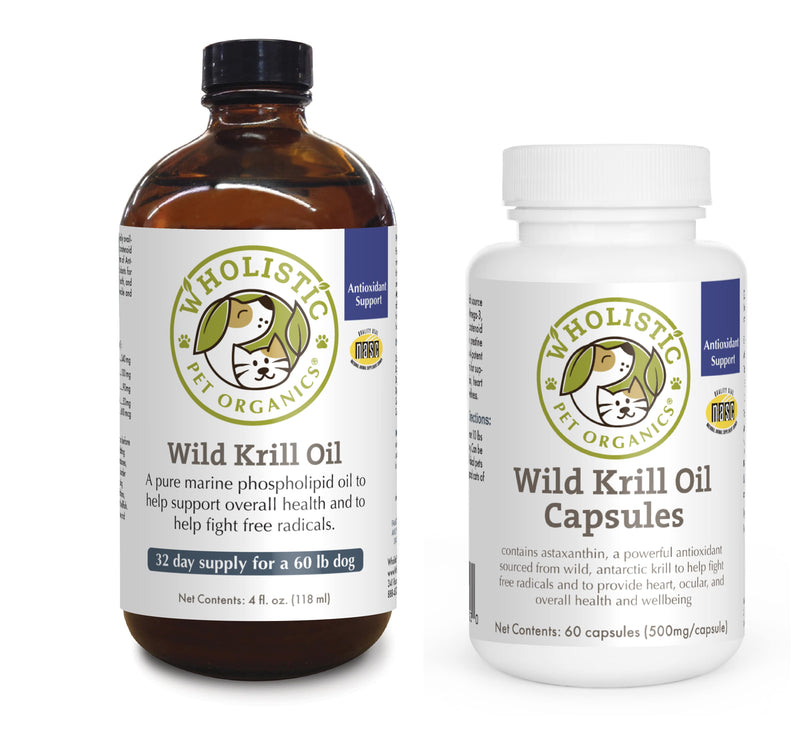 Wholistic Pet Organics Krill Oil and capsules