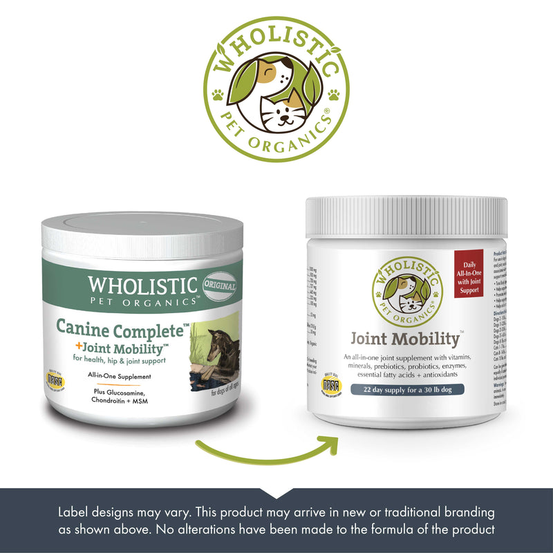 Wholistic Pet Organics Joint Mobility™ old and new packaging