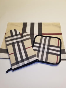 Trendy Kitchen Set - Oven Glove, Pot Holder and Tea Towel