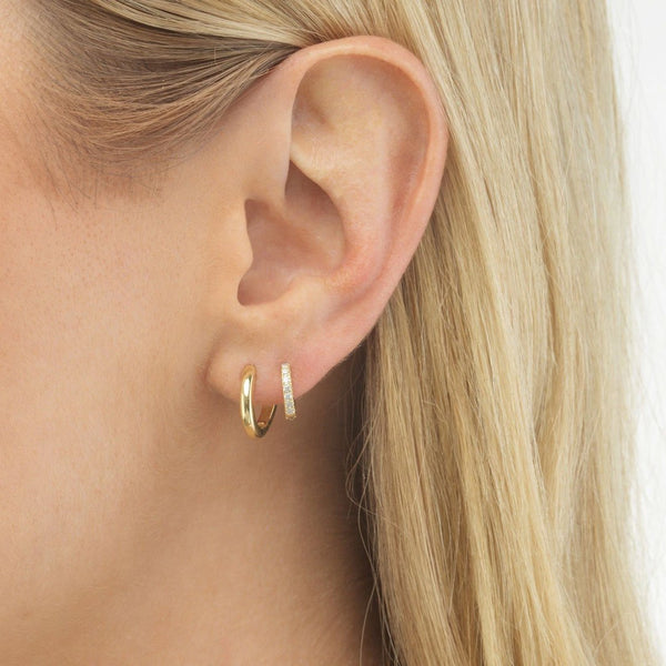 Aretes Mini Hoops Brillantes + Aretes Huggie Hoops