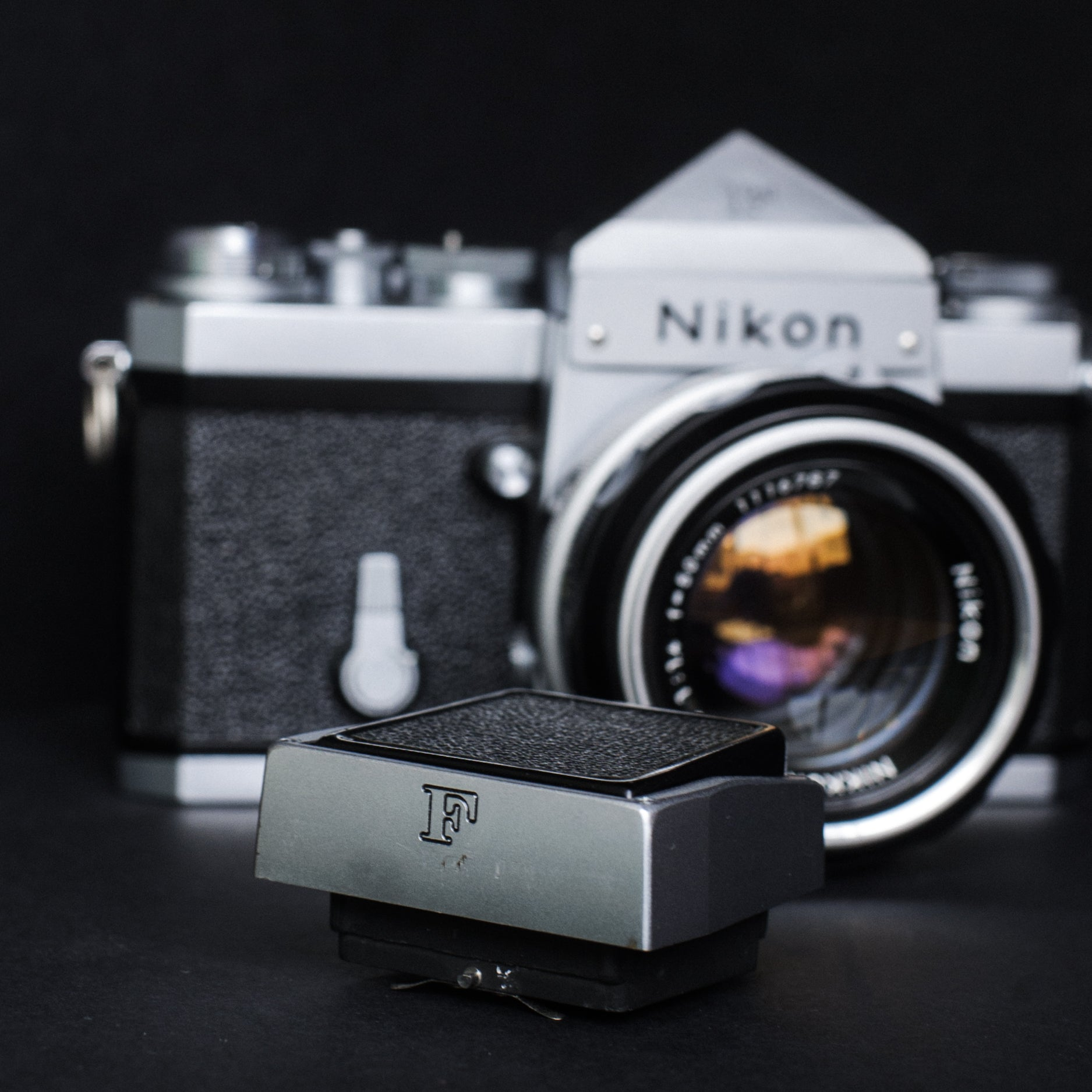 Nikon F + Nikkor-S 50mm 1.4 + waist level viewfinder