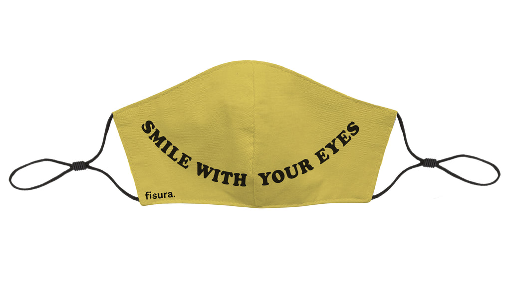 Mascarilla adultos Smile with your eyes - Amarilla. Testada en laboratorio UNE0065
