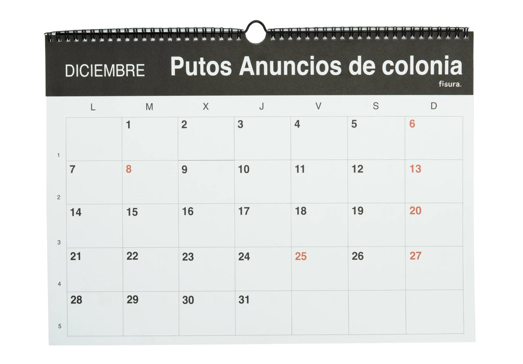 "Calendario de pared ""Puto 2020"" Español"