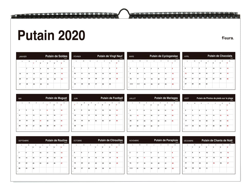 "Calendario de pared ""Putain 2020"" Francés"