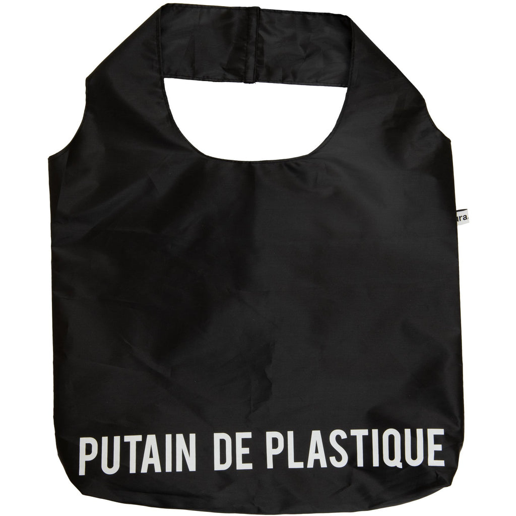 "Bolsa Reutilizable ""Putain de plastique"" Negro/Blanco"