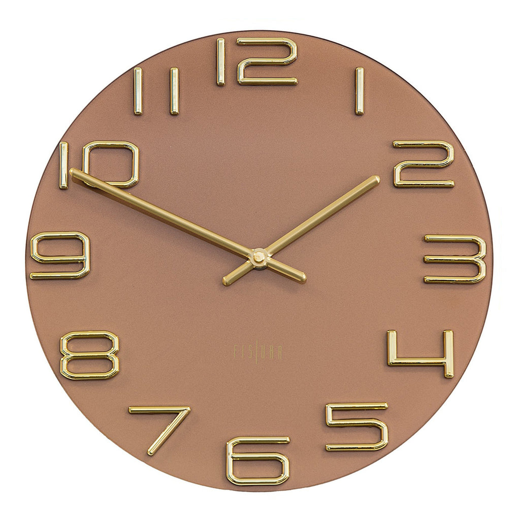 Reloj Numbers 30 CM - Dial Marrón chocolate, Números oro