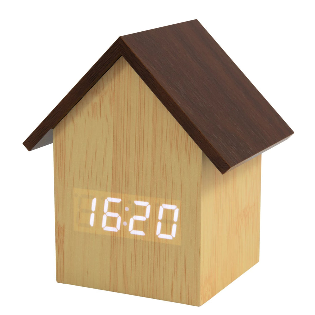 Reloj despertador LED casita madera natural