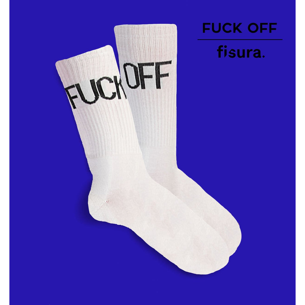 "Par de calcetines chico ""Fuck Off"" - Blanco"