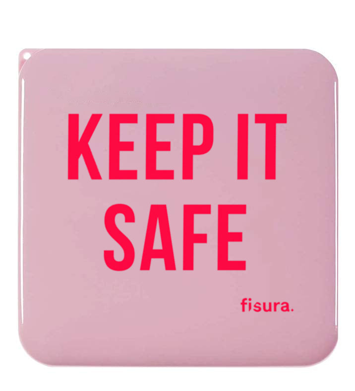 "Funda rígida porta mascarillas ""Keep if safe"" Rosa"