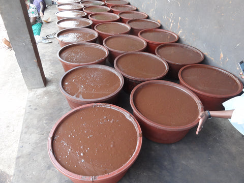 Raw Shea butter paste for the processing of unrefined shea butter in Ghana