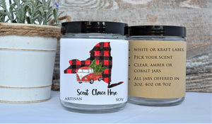 """Pick Your State Candles"" - Red Buffalo Plaid"