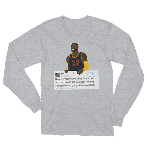 a3cac1f5dfb LeBron James holding Kevin Durant Tweet - Unisex Long Sleeve T-Shirt