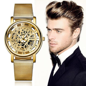 SOXY Luxury Skeleton Men Watch Women Wrist Watches Fashion Montre Homme 2018 Gold Wrist Watch Men Steel Mesh Men's Watch - Cheapo's DepotSOXY Luxury Skeleton Men Watch Women Wrist Watches Fashion Montre Homme 2018 Gold Wrist Watch Men Steel Mesh Men's Watch SOXY Luxury Skeleton Men Watch Women Wrist Watches Fashion Montre Homme 2018 Gold Wrist Watch Men Steel Mesh Men's Watch