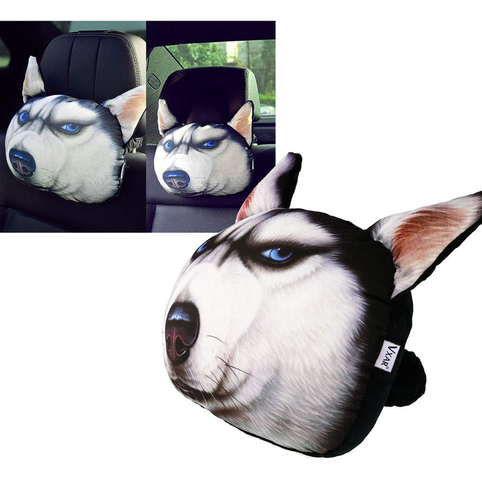 Car Headrest Husky Pet Dog 3D Pillow - Trend BoxCar Headrest Husky Pet Dog 3D Pillow Car Headrest Husky Pet Dog 3D Pillow