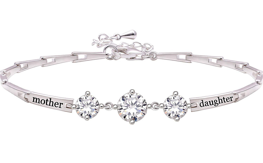 Sterling Silver Mother Daughter Cubic Zirconia Bracelet - Trend BoxSterling Silver Mother Daughter Cubic Zirconia Bracelet Sterling Silver Mother Daughter Cubic Zirconia Bracelet