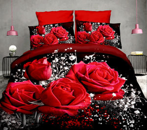 Cotton 3D Rose Bedding Sets High Quality Soft Duvet Cover Bedsheet Pillowcase Reactive Printed Bedclothes Queen Bed Linen - Trend BoxCotton 3D Rose Bedding Sets High Quality Soft Duvet Cover Bedsheet Pillowcase Reactive Printed Bedclothes Queen Bed Linen Cotton 3D Rose Bedding Sets High Quality Soft Duvet Cover Bedsheet Pillowcase Reactive Printed Bedclothes Queen Bed Linen