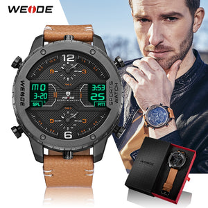 Men's Sports Digital Calendar Quartz Brown Leather Strap Wrist watches