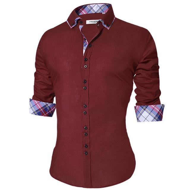 fb66a87b7 Men's Casual Shirt Slim Fit Men's Casual Button Down Shirt Long Sleeve  Formal Dress Shirts Men