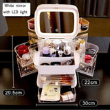 LED Makeup Mirror With Cosmetic Storage Box - Trend BoxLED Makeup Mirror With Cosmetic Storage Box LED Makeup Mirror With Cosmetic Storage Box