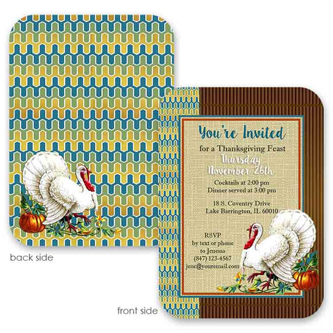 vintage turkey thanksgiving invitation