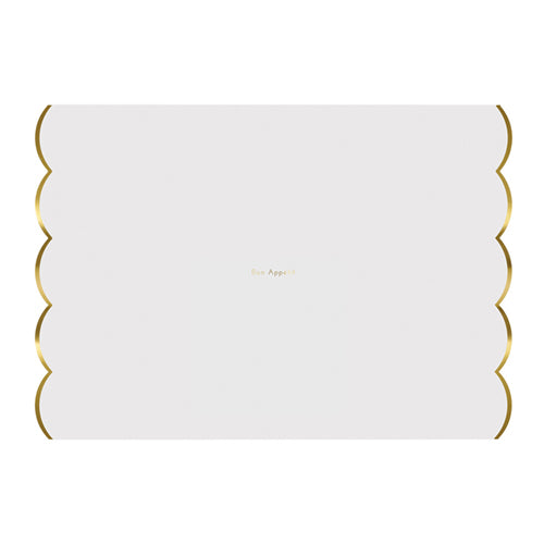 scalloped gold foil placemat