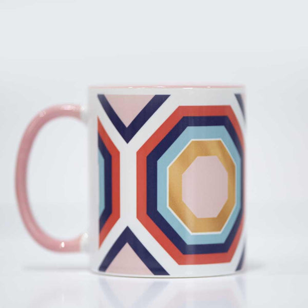 Hexagon blush and blue coffee mug