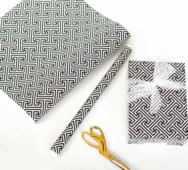 Black Lattice Gift Wrap - ModLoungePaperCompany