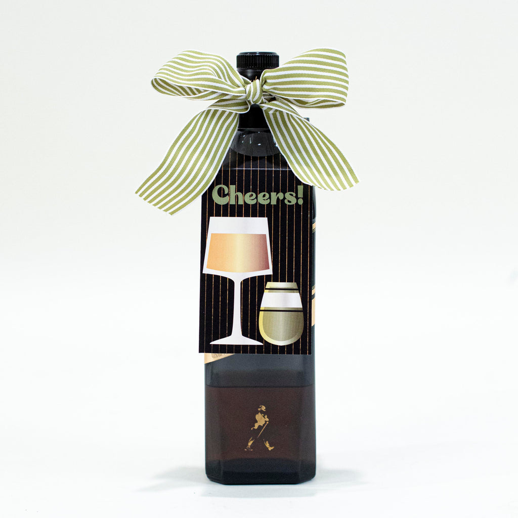 Black Stripe Cheers Wine Tag - ModLoungePaperCompany