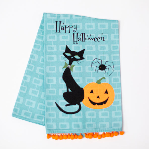 Mid Century Modern Halloween Cat Tea Towel - ModLoungePaperCompany