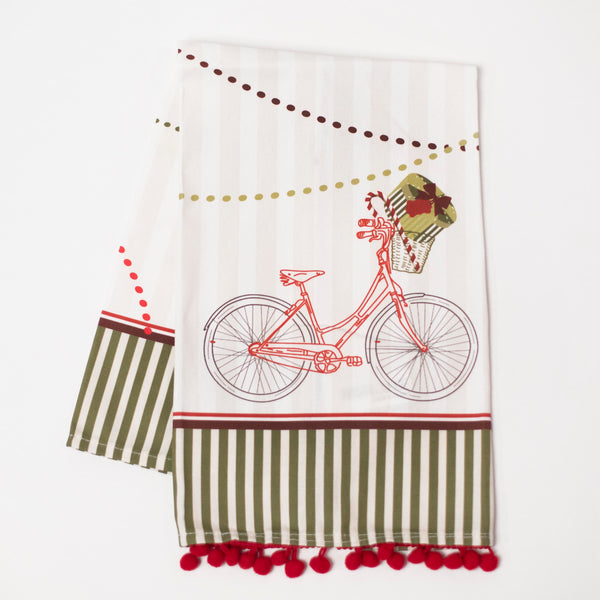 Vintage Holiday Bike Tea Towel - ModLoungePaperCompany